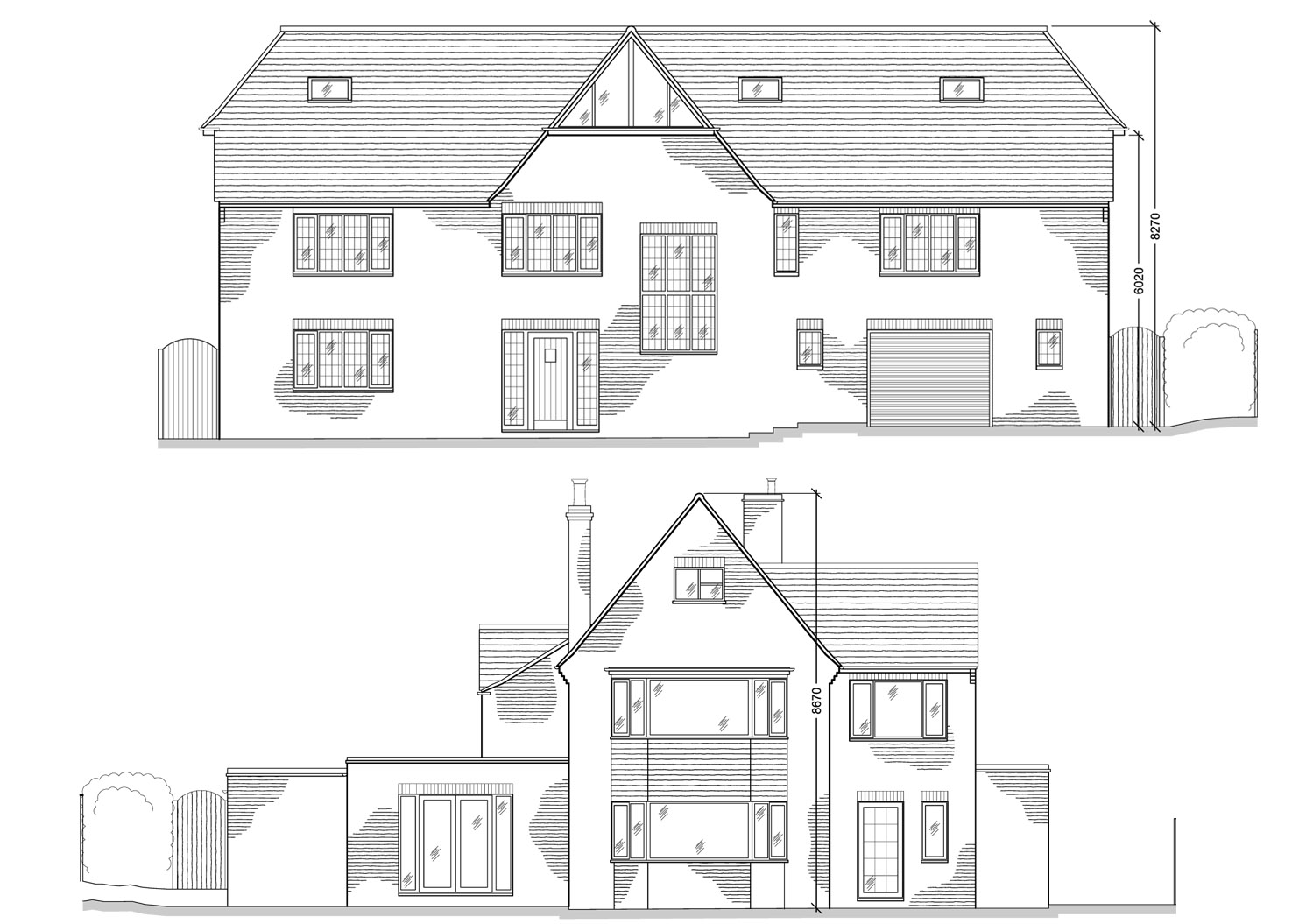 Extension Design By CPA Design Proposed Front Elevation and Existing Rear Elevation